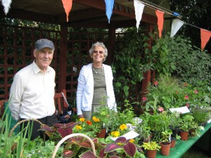 Supporters raising funds selling plants at Dorothea Court, Bedford