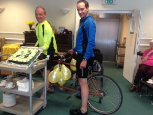 Met with 'bike' cake on arrival